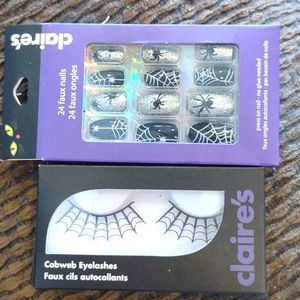 Halloween nails and spider web lash